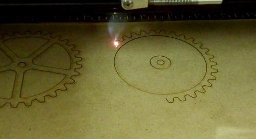 Laser cutting wooden gears